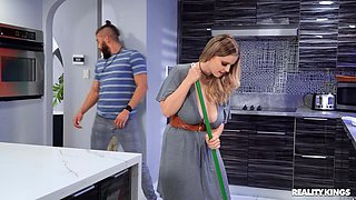 Chubby amateur Codi Vore gets fucked hard in the kitchen. HD