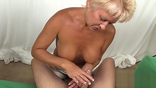 Old blonde slut shows her blowjob skills