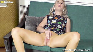Hot blonde masturbates in crotchless pantyhose and heels