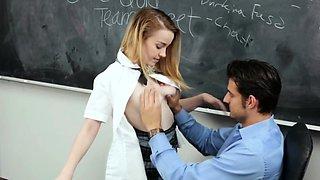 Tiny blonde schoolgirl ravished by her teacher