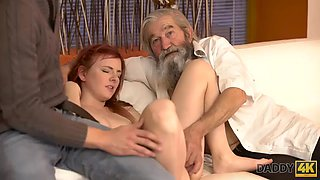 DADDY4K. Boy and his bearded father team up to punish innocent cutie