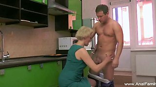 Mature mother gets ass fucked from new family member