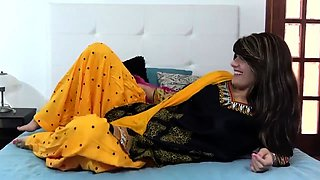 Pretty Indian teen having fun with her boyfriend on the bed