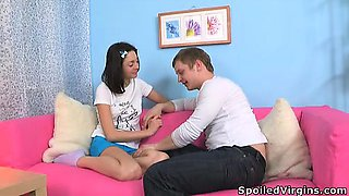 Alyona liked the defloration and taste of cum.