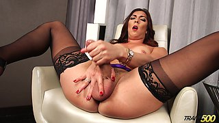 That transsexual whore is wild and she loves playing with her hard cock