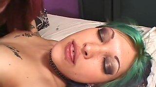 Hard lesbian dildo sex with a mature midget