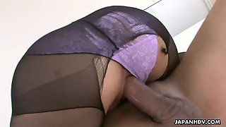 a jap fucks chihiro kitagawa through a hole in her pantyhose and cums inside her