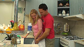 Sexy blonde teen getting fucked in the kitchen