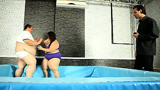 Busty SSBBW pussyfucked after wrestling