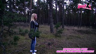 German skinny blonde outdoor anal in forest