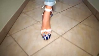 Hellish Shoe job - High heels footjob