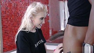 Blonde Teen deepthroats a huge black cock