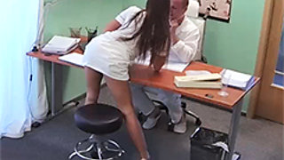 Doctor fucks his pretty nurse