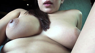 Close by big fake and tempting boobs