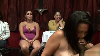 Babes sucking strippers dick during CFNM