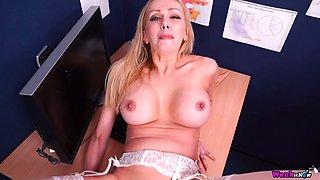 Hot POV scene featuring naughty secretary Amber Jayne with jizzed boobs
