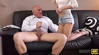 DADDY4K. Beautiful blonde tastes old dick of BFs dad inside her pussy