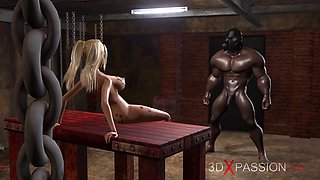 Young blonde whore gets fucked hard by a black man in a mask in a dark basement