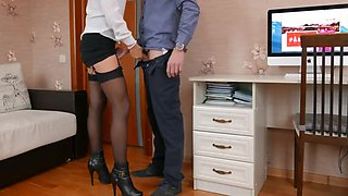 While wife is not at home, the husband is fucking the secretary&rsquo_s young bitch in tight pussy! Homemade porn with a blonde after work