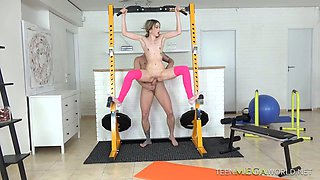 Horny fitness instructor fucks lovely and delicious babe Empera at the gym