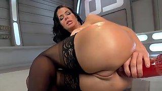 Big tits Milf takes monster machine anal