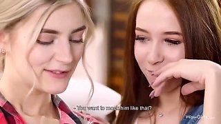 Cute College Girls Seduces Nerd To A Threesome