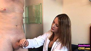 CFNM doctor wanking cock of her patient