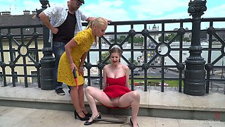 Mega busty British chick Stella Cox gives a cunnilingus in public