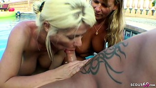 GERMAN MATURE and STEP SISTER in HOLIDAY POOL THREESOME