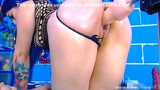 Cute ass booty tattooed girl anal creampie with fuck machine on ChatGirls.cloud