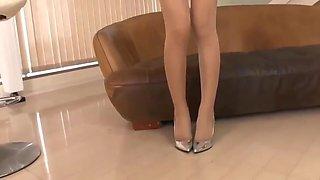 Asian blonde in pantyhose