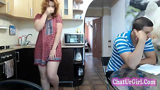 Amateur Redhead Girl live from kitchen