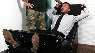 Cris gets tied up and tickled by two men who enjoy it well.