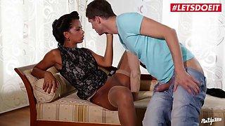 Letsdoeit ebony wife gets nailed by gardener&#039s big cock