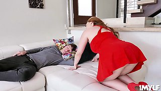 Insolent stepson cannot take away his eyes with his stepmoms fat titties