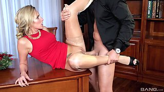 Blonde MILF in stockings ass and pussy fucked hardcore