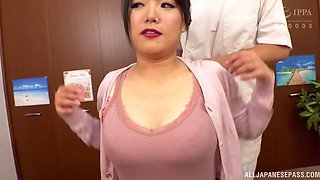 Busty Japanese model Sachiko opens her legs to be fingered