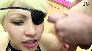 Bukkake loving pirate chick gets covered