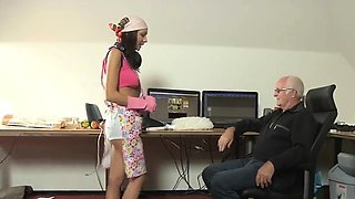 Romanian maid fuck old boss