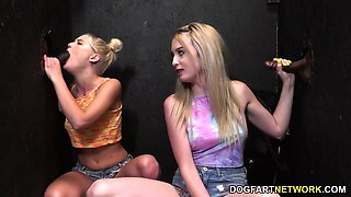 Lexi Lore And Natalia Queen Have Fun With Big Black Cocks At A Gloryhole
