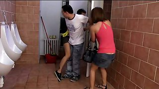 Teens Fucking a Guy in The Toilet