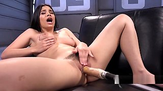Busty Latina babe gets fucking machine