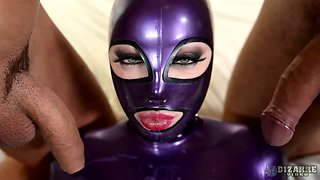 Leggy bitch in latex outfit Lucy takes part in crazy threesome scene