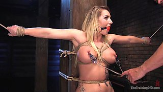 Busty pornstar Cali Carter tied up and fucked by long shaft