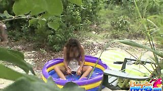 Beautiful babysitter Nicole Grey gives a blowjob and