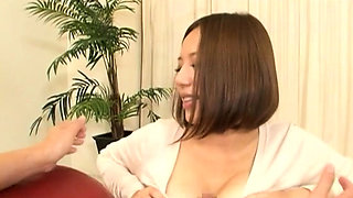 Japanese girl gets her wet big milk cans groped and licked