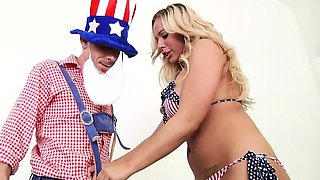 Babe celebrates 4th of July with cock inside her
