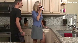 My blonde MILF stepmom likes to be banged in the kitchen