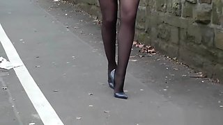 6inch high heels casual business elegance black stocking legs in public