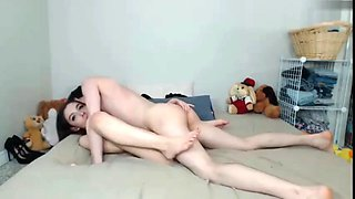 Crazy college bitch having a real orgasm with roommate boy